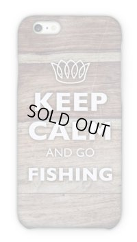 【Angler's Case】Cell-phone Case - KEEP CALM AND GO FISHING - Wood Grain (built-to-order) (Product code: 2015051804)