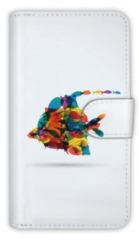 【Angler's Case】【Notebook Type】Cell-phone Case - Modern colorful fishes - (built-to-order) (Product code:diary2015110201)