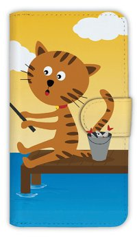 【Angler's Case】【Notebook Type】Cell-phone Case - Cat and Fishing - shine (built-to-order) (Product code:diary2015110712)