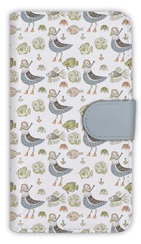 【Angler's Case】【Notebook Type】Cell-phone Case - Seamless Pattern of gull and fishes -  (built-to-order) (Product code:diary2015110719)