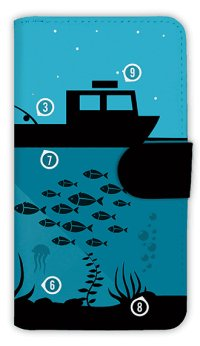 【Angler's Case】【Notebook Type】Cell-phone Case - Night Fishing -  (built-to-order) (Product code:diary2015110716)