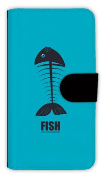 【Angler's Case】【Notebook Type】Cell-phone Case - Bone Fish - (built-to-order) (Product code:diary2015110412)
