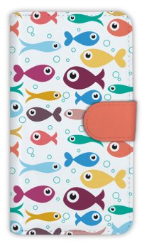 【Angler's Case】【Notebook Type】Cell-phone Case - Seamless Pattern of cute fishes - (built-to-order) (Product code:diary2015103132)