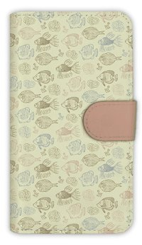 【Angler's Case】【Notebook Type】Cell-phone Case - Seamless Pattern of cute fishes -  (built-to-order) (Product code:diary2015110720)