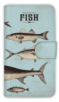 【Angler's Case】【Notebook Type】Cell-phone Case - Vintage Fish Picture Book  - Blue (built-to-order) (Product code:diary2015110501)