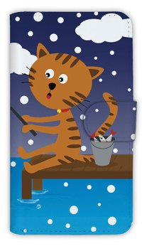 【Angler's Case】【Notebook Type】Cell-phone Case - Cat and Fishing - snow (built-to-order) (Product code:diary2015110712)