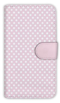 【Angler's Case】【Notebook Type】Cell-phone Case - Polka Dot - Sakura Pink (built-to-order) (Product code:diary2015102950)