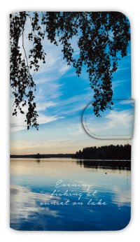 【Angler's Case】【Notebook Type】Cell-phone Case - Evening fishing at sunset on lake - (built-to-order) (Product code:diary2015102805)