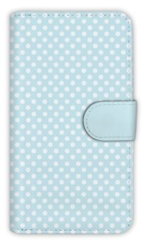 【Angler's Case】【Notebook Type】Cell-phone Case - Polka Dot - Wet Blue (built-to-order) (Product code:diary2015102949)