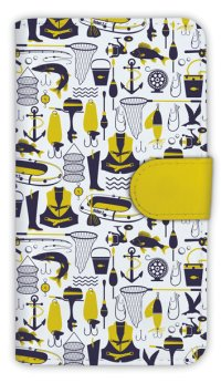 【Angler's Case】【Notebook Type】Cell-phone Case - Seamless Pattern of Fishing Tackle - (built-to-order) (Product code:diary2015110210)