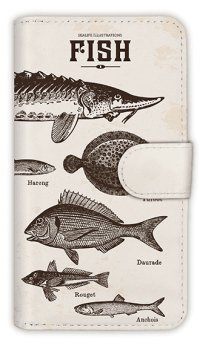 【Angler's Case】【Notebook Type】Cell-phone Case - Vintage Fish Picture Book  - Lemon (built-to-order) (Product code:diary2015110502)