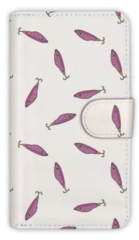 【Angler's Case】【Notebook Type】Cell-phone Case - Seamless Pattern of Lure - Purple (built-to-order) (Product code:diary2015103126)