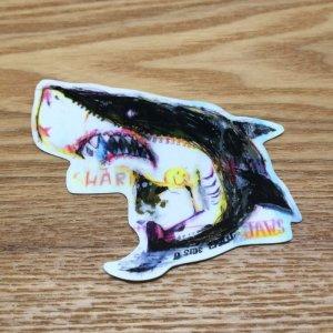 Photo1: 【B-SIDE LABEL STICKER】 Shark (rough drawing) (BSL012)